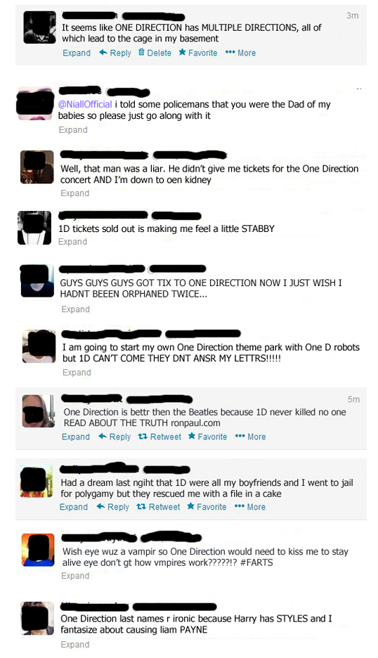 18 Extremely Crazy Tweets From One Direction Fans